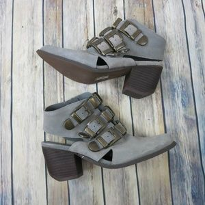 N.Y.L.A General Ankle Boots 8.5 Suede Buckles Gray